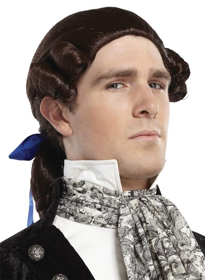 WHITE BROWN BLONDE FOUNDING FATHERS COLONIAL PONYTAIL BOW WIG COSTUME MR17805 | eBay
