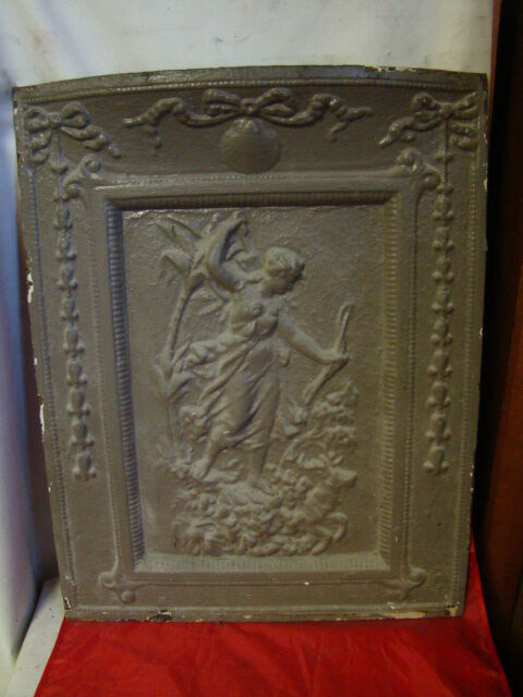 ANTIQUE CAST IRON FIREPLACE COVER VERY ORNATE Diana ...