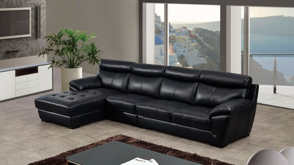3 Pc Modern Black Italian Top Grain Leather Sectional Sofa