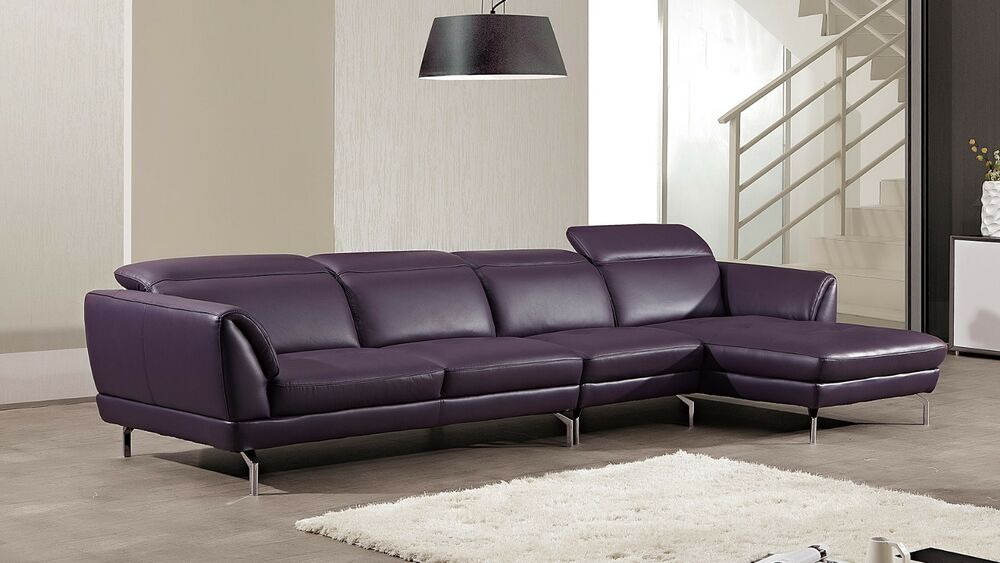 3 Pc Modern Purple Italian Top Grain Leather Sectional