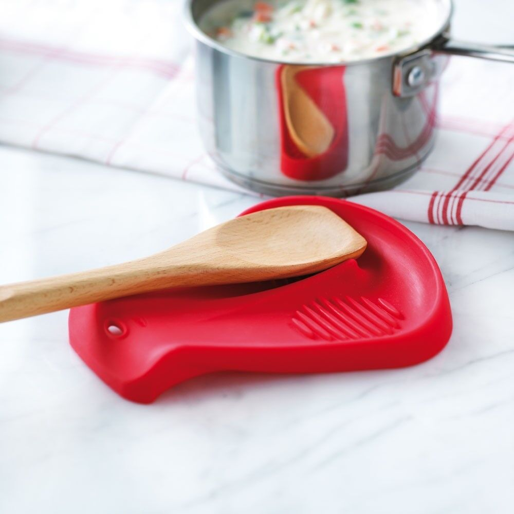 Trudeau Dual Double Silicone Spoon Rest Yellow Cooking