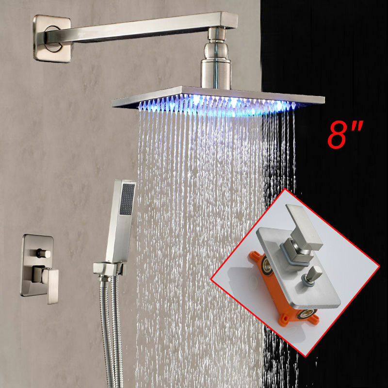 Wall Mounted LED Shower Head Faucet Hand Shower Nickel Brushed LED Faucet EBay