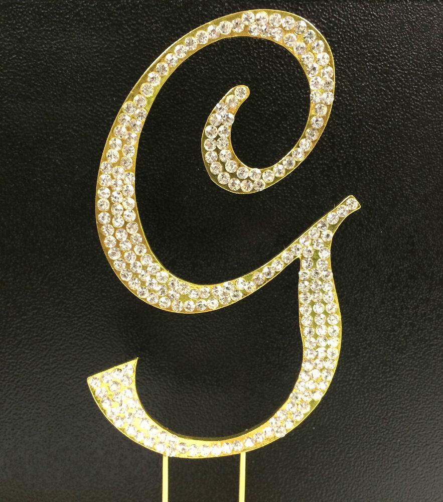 gold plated rhinestone monogram letter  u201cg u201d wedding cake topper 5 u0026quot  inch high 619159662955
