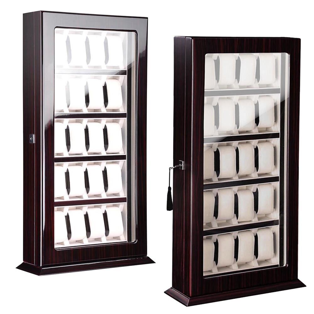 Acrylic Box To Hang On Wall : Deluxe watch wood display wall case stand storage