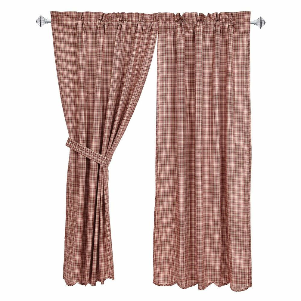 New Country Primitive Independence Wine Barn Red Tan Plaid