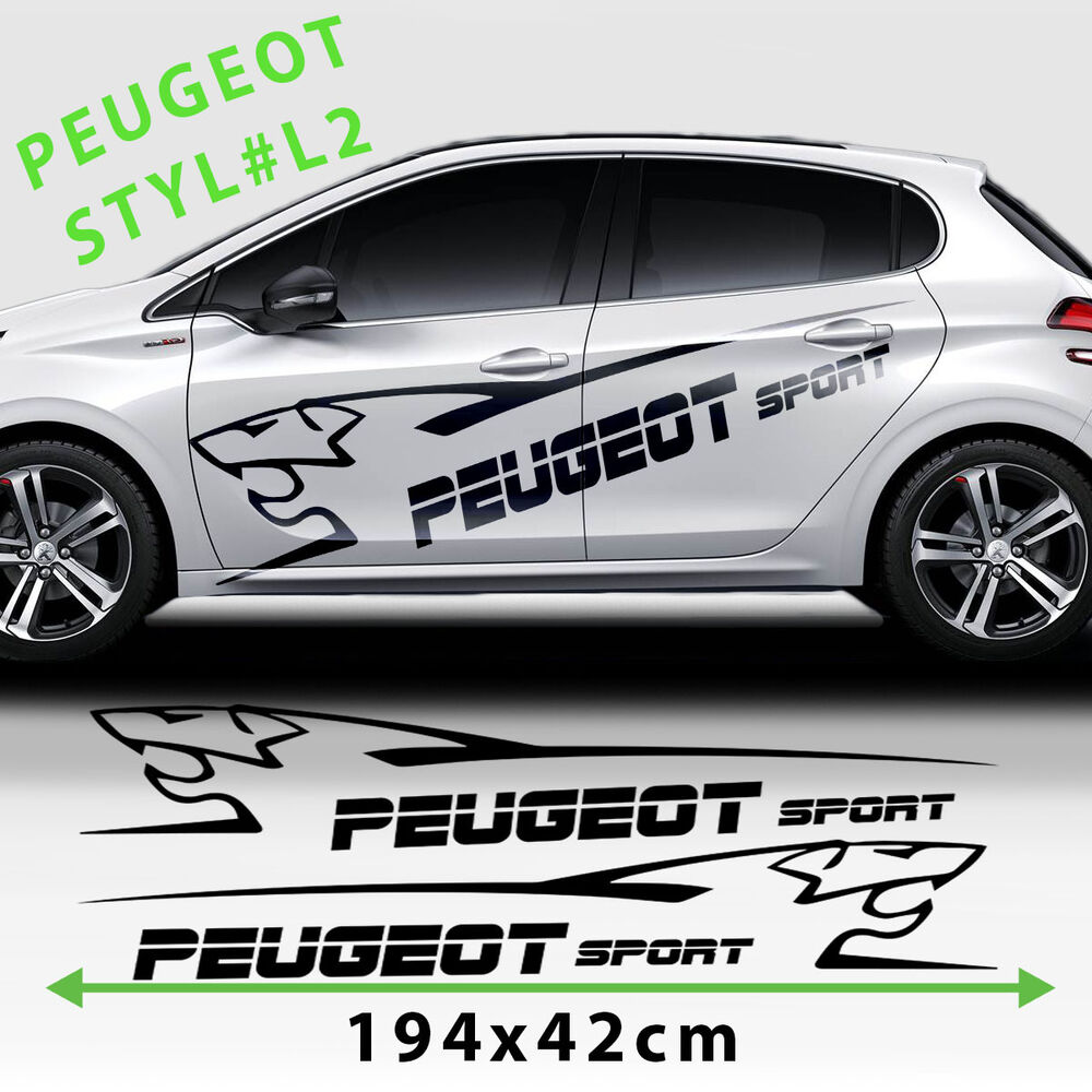 peugeot 208 side racing stripes car logo stickers decal. Black Bedroom Furniture Sets. Home Design Ideas