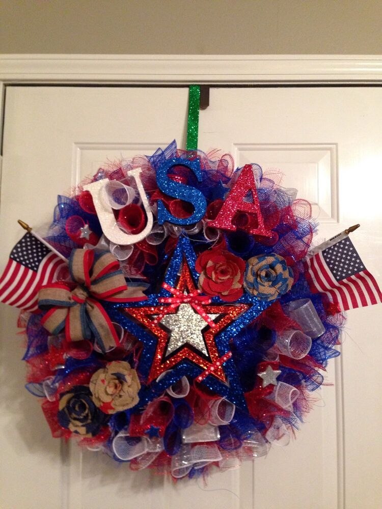 New handmade door decor red white and blue fourth of for 3 wreath door decoration