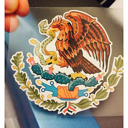 Mexican Coat of Arms Sticker Decal Mexico Flag Car Truck Vinyl 4'' x 3.75''
