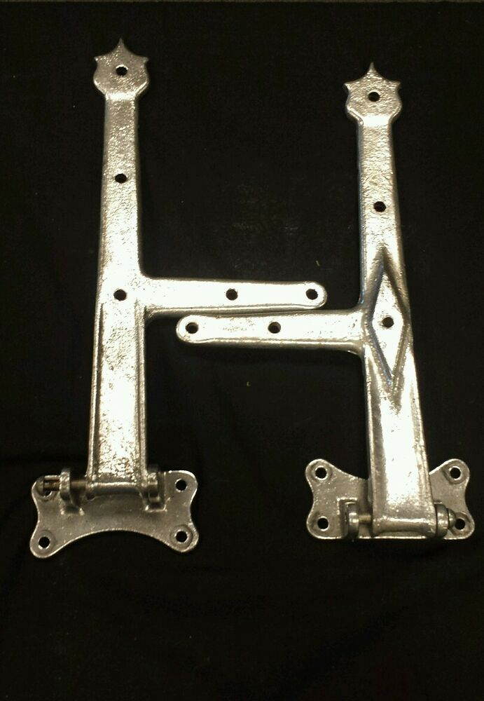 Super Pair Of Large Offset Vintage Heavy Cast Metal Hinges
