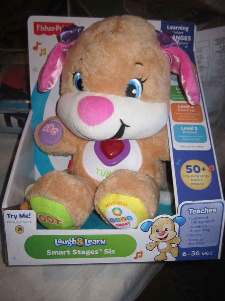 Fisher-Price Laugh and Learn Puppy's Smart Stages Sis 50 songs teaching plush | eBay