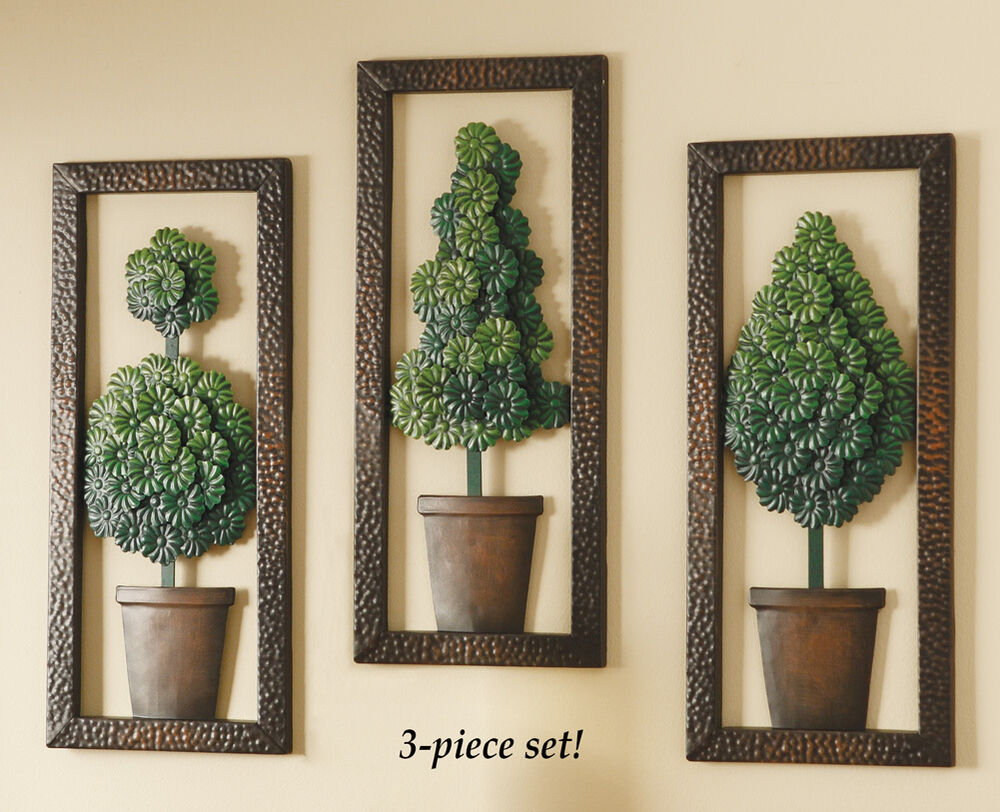 Wall Decor Set Of 3 : Metal topiary wall art set of by collections etc
