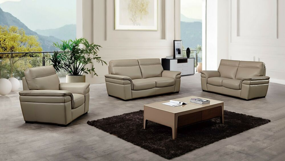 3 Pc Modern Tan Italian Top Grain Leather Sofa Loveseat