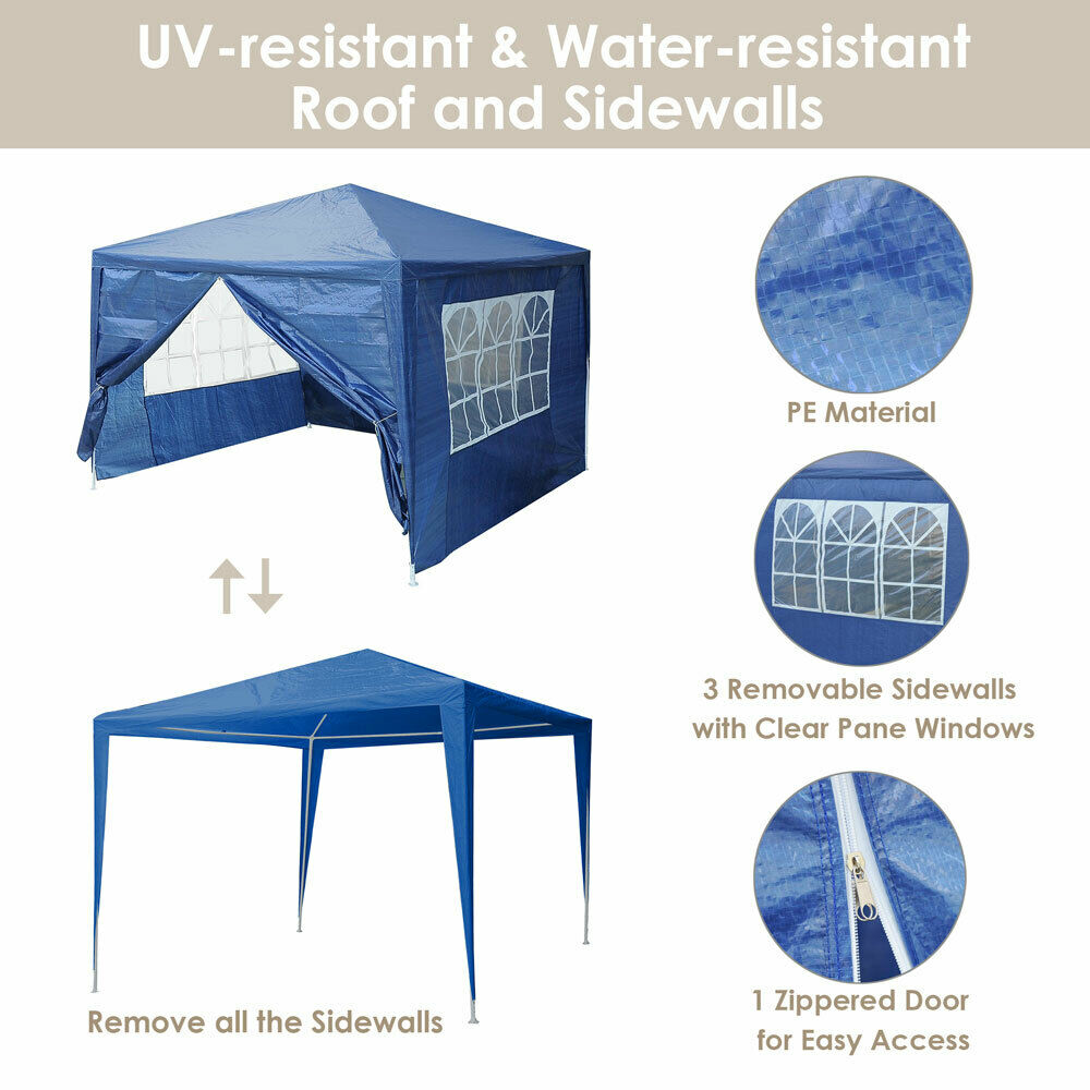 10 X10 Outdoor Canopy Party Wedding Tent Blue Pavilion W