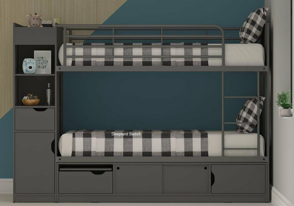 3ft Platinum Bunk Beds With Extra Storage