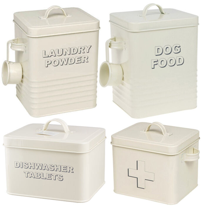 Cream Kitchen Storage Jars: ENAMEL HOME SWEET CREAM STORAGE TIN BOX FOOD KITCHEN RETRO
