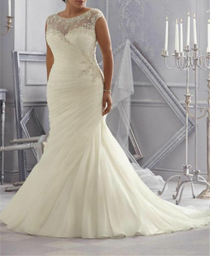 Plus size ruched mermaid wedding dress bridal gown custom for Wedding dresses size 18 plus