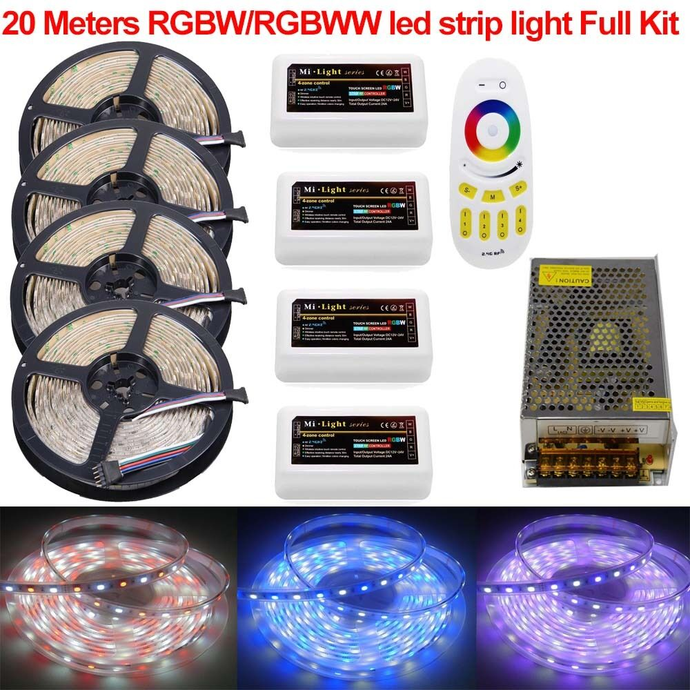 kit 10m 20m 5050 rgbw rgbww mi 4 zone led strip light touch remote 12v power ebay. Black Bedroom Furniture Sets. Home Design Ideas