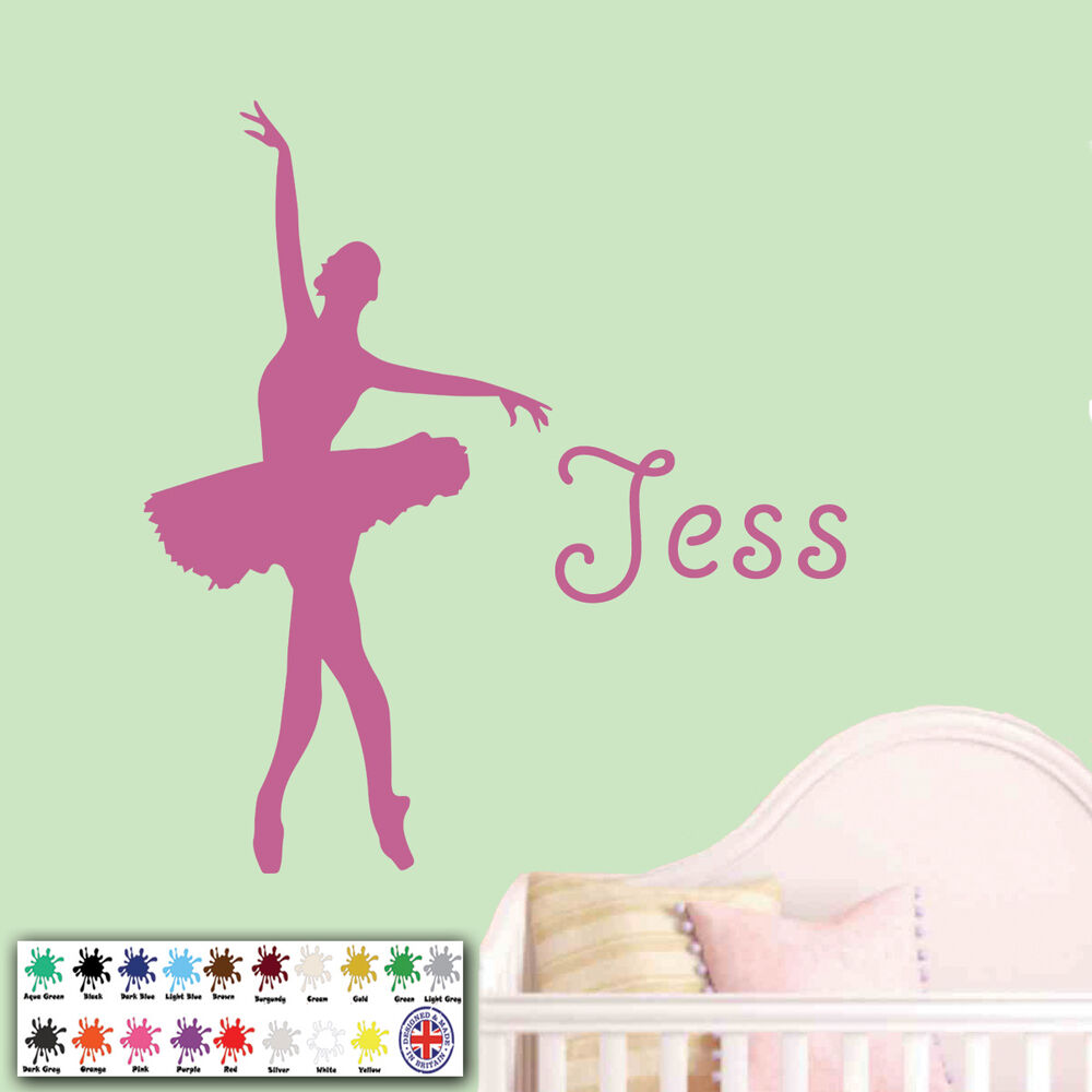 Personalised Girl Name Ballerina Wall Sticker Ballet