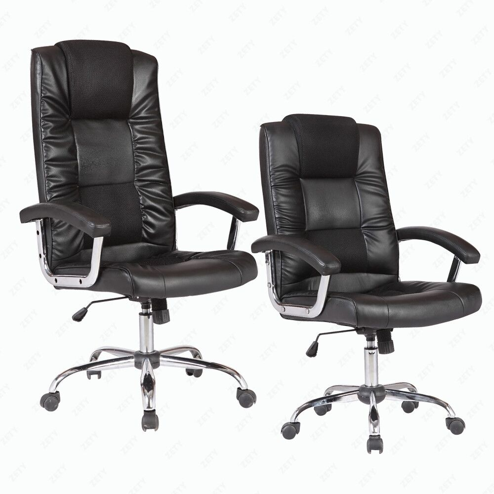 BN Executive Swivel Office Chair Black PU Leather Lumbar Support Computer Cha