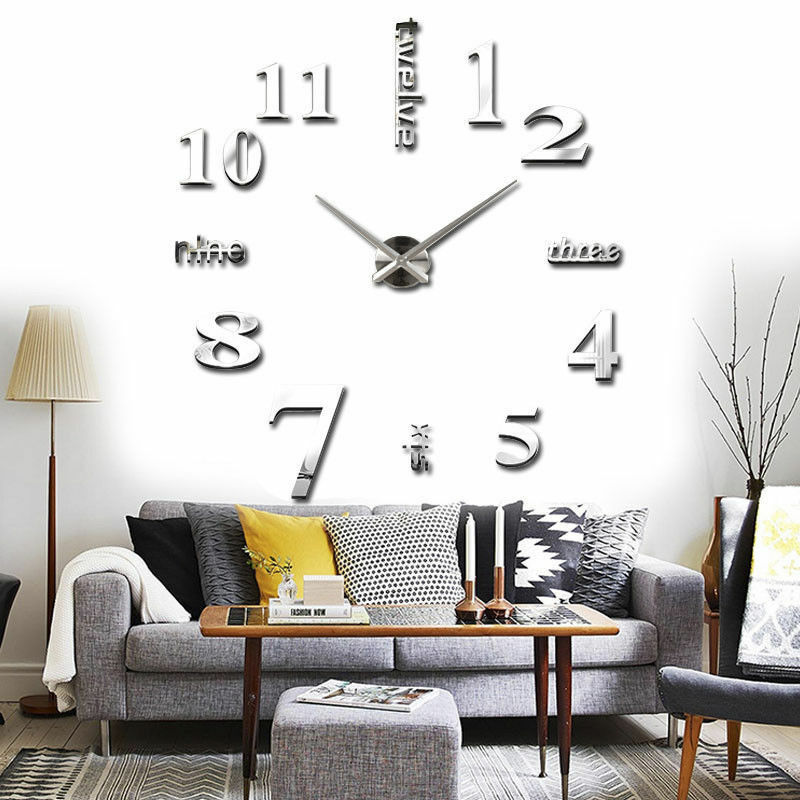 wand uhr wohnzimmer wanduhr wandtattoo aufkleber deko xxl 3d design neu silbern ebay. Black Bedroom Furniture Sets. Home Design Ideas