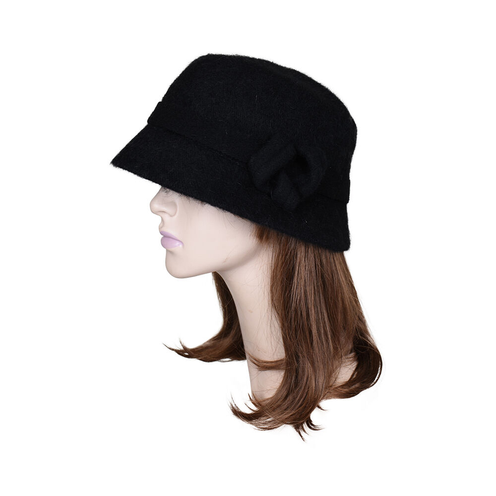 womens black hat faux wool winter hat with