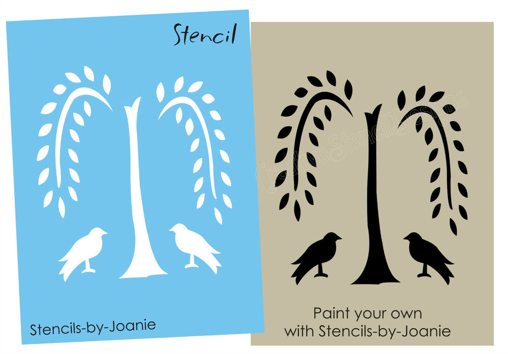 Primitive stencil easy 4 willow tree crow black bird folk for Arts and crafts stencils craftsman