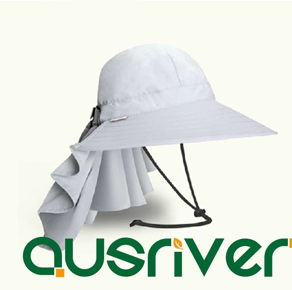 Women grey jungle fishing hat cap face protector neck for Fishing neck cover