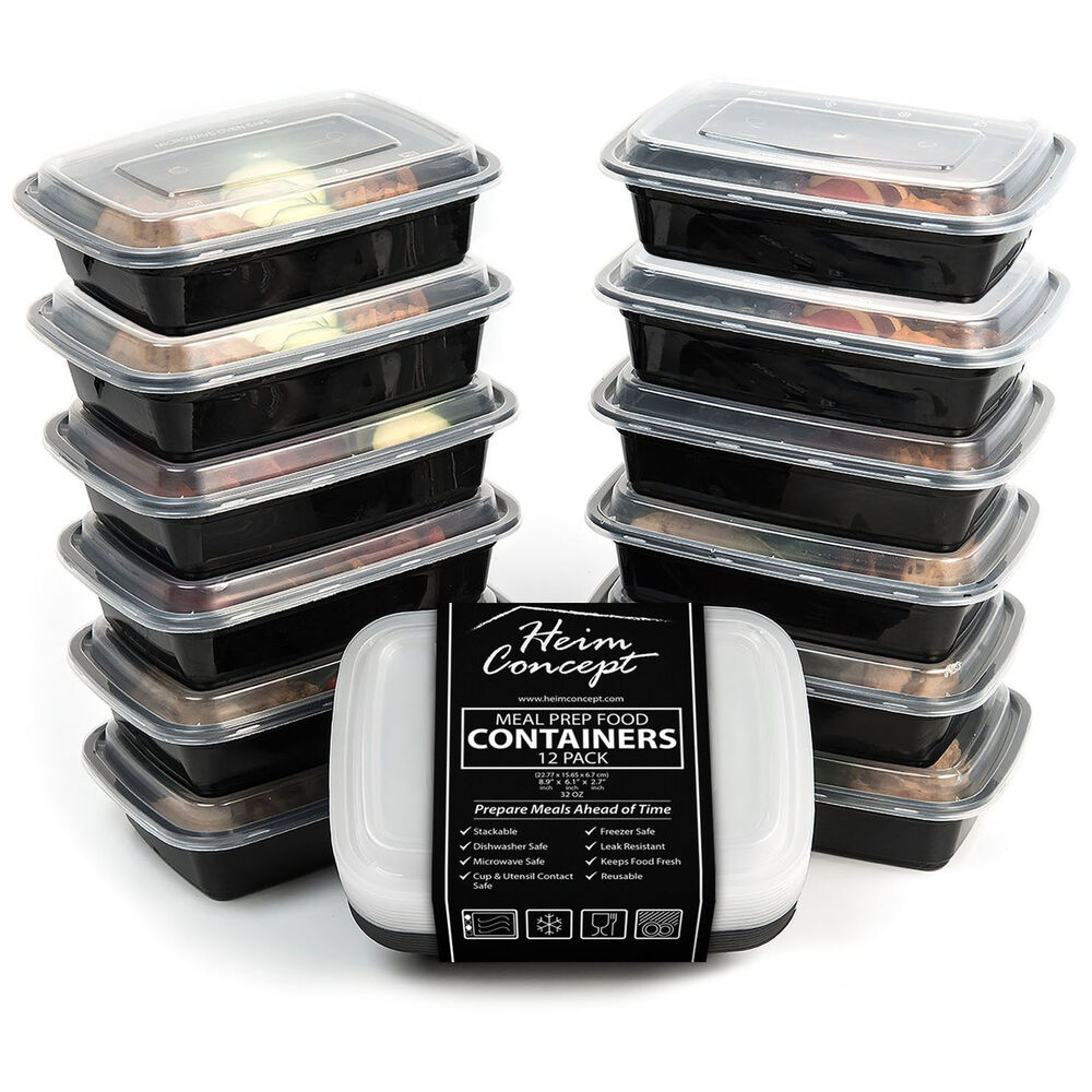 heim concept premium meal prep food containers compact stackable storage 12 pack ebay. Black Bedroom Furniture Sets. Home Design Ideas