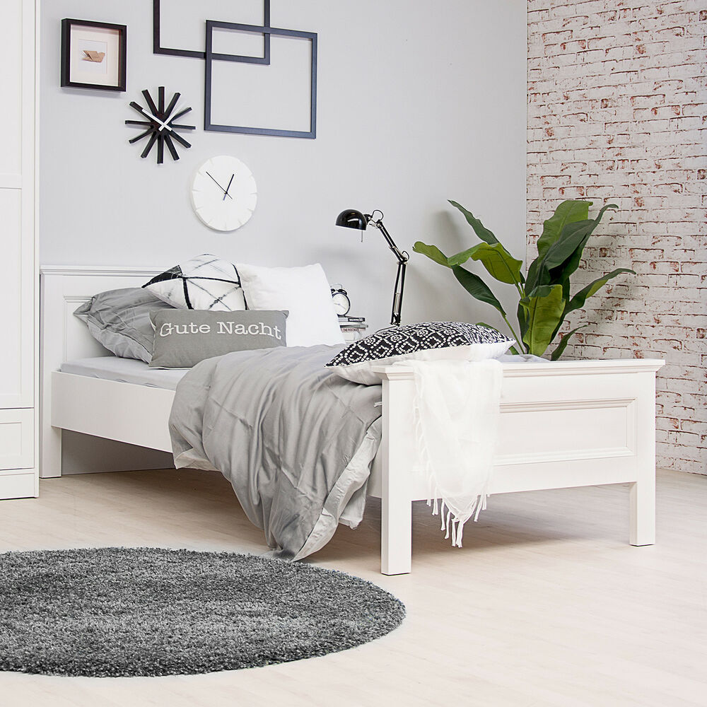 bett landwood bettgestell futonbett in wei mit kopfteil 90x200 cm landhausstil ebay. Black Bedroom Furniture Sets. Home Design Ideas