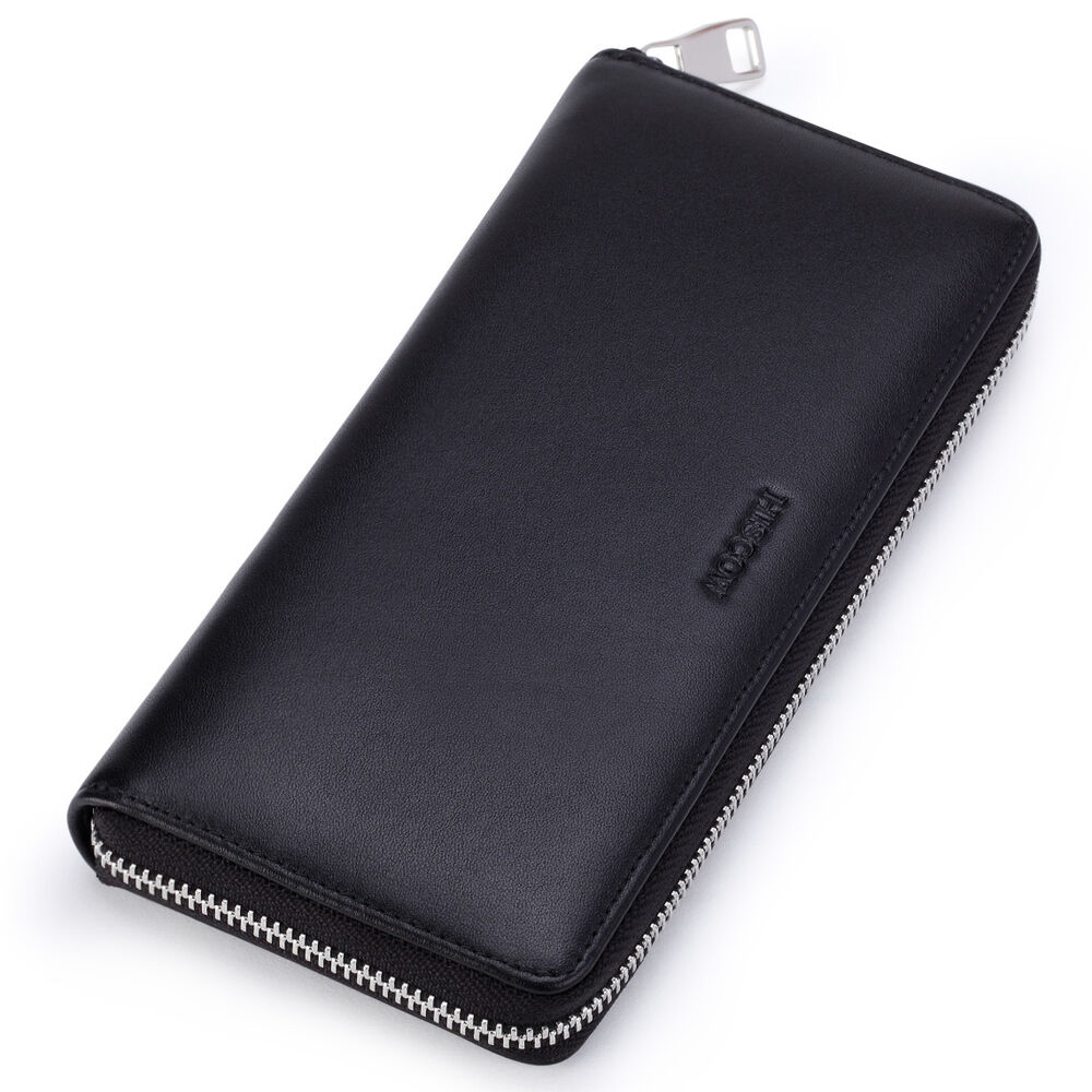 Hiscow Men S Metal Zipper Long Wallet Genuine Leather With