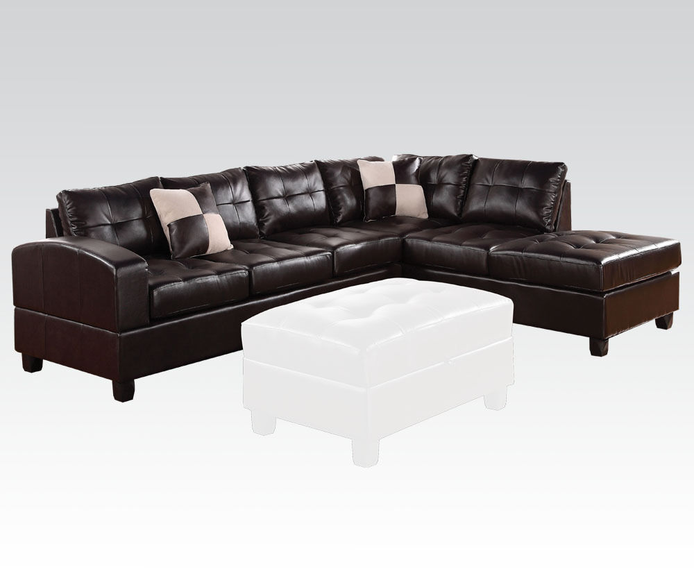 Living room sectional sofa set espresso contemporary for Bonded leather sectional with chaise
