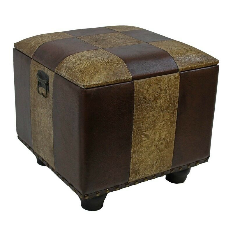 International Caravan Square Faux Leather Ottoman W Lid