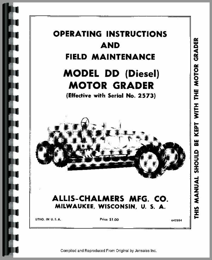 Allis Chalmers Dd Motor Grader Operators Manual Sn 2573