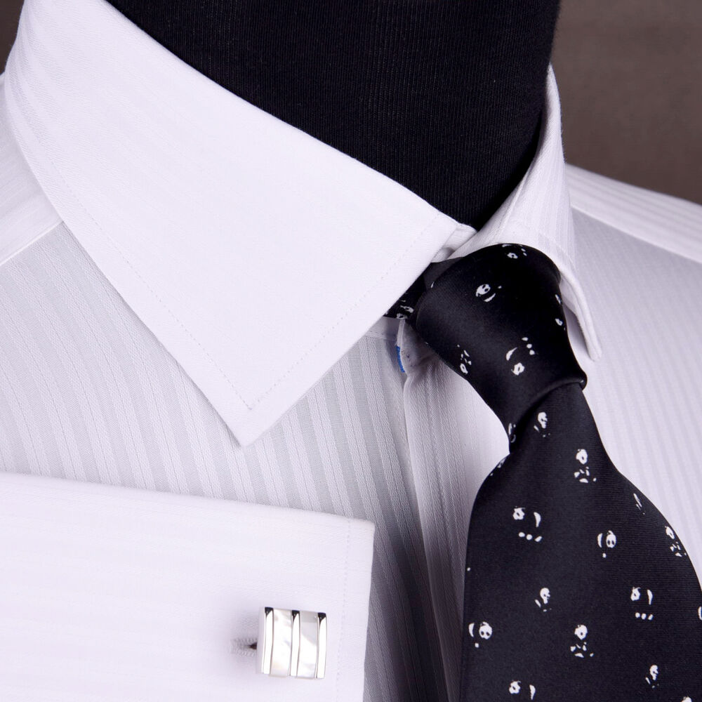 White formal business dress shirt double or button cuff for Men s spread collar shirts