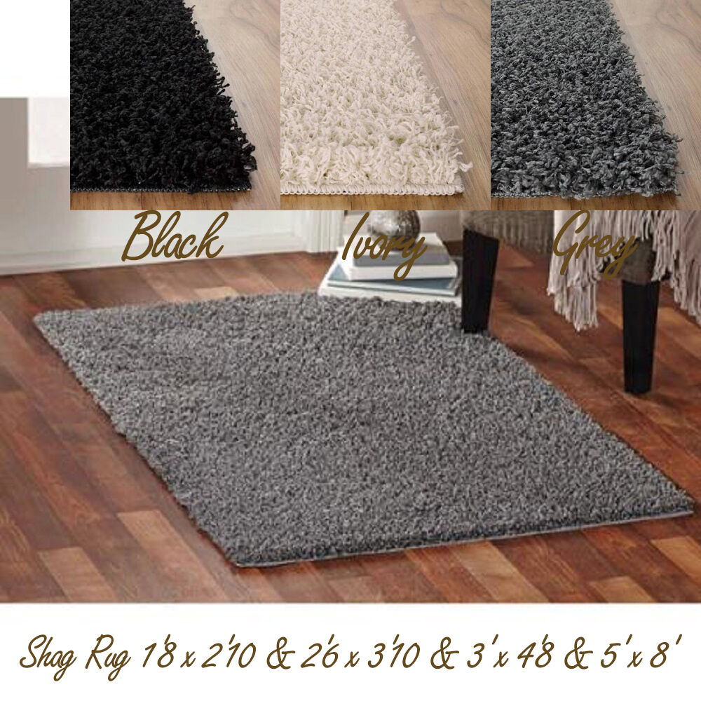 Shag Area Rug Solid Cut Pile Thick Soft Home Polyester