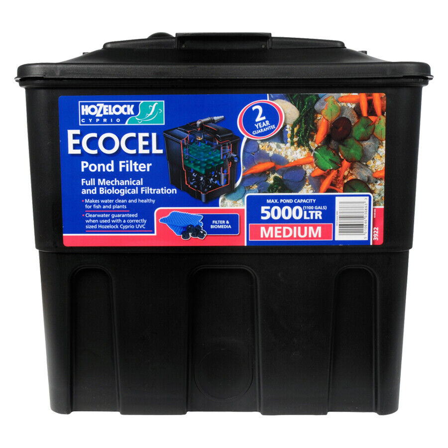 Hozelock ecocel 5000 fish pond gravity filter black box for Outdoor pond filter