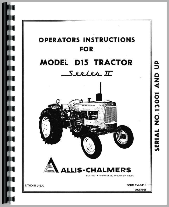 Tractor Manual Thickness : Allis chalmers d tractor operators manual ac o ii g