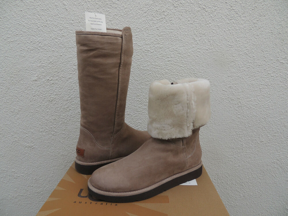 ugg luxe collection abree stone suede shearling boots us 7 eur 38 nib ebay. Black Bedroom Furniture Sets. Home Design Ideas
