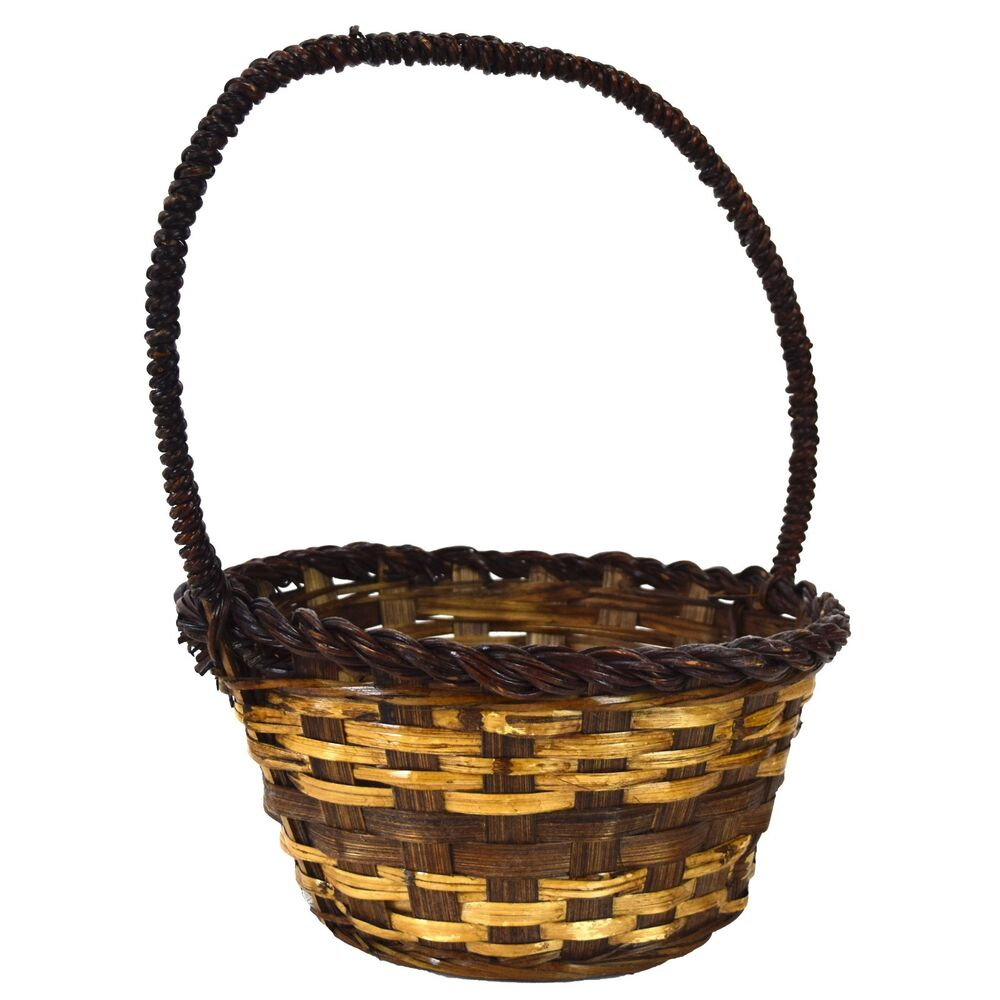 woven straw wicker decorative basket dark brown round with handle ebay. Black Bedroom Furniture Sets. Home Design Ideas