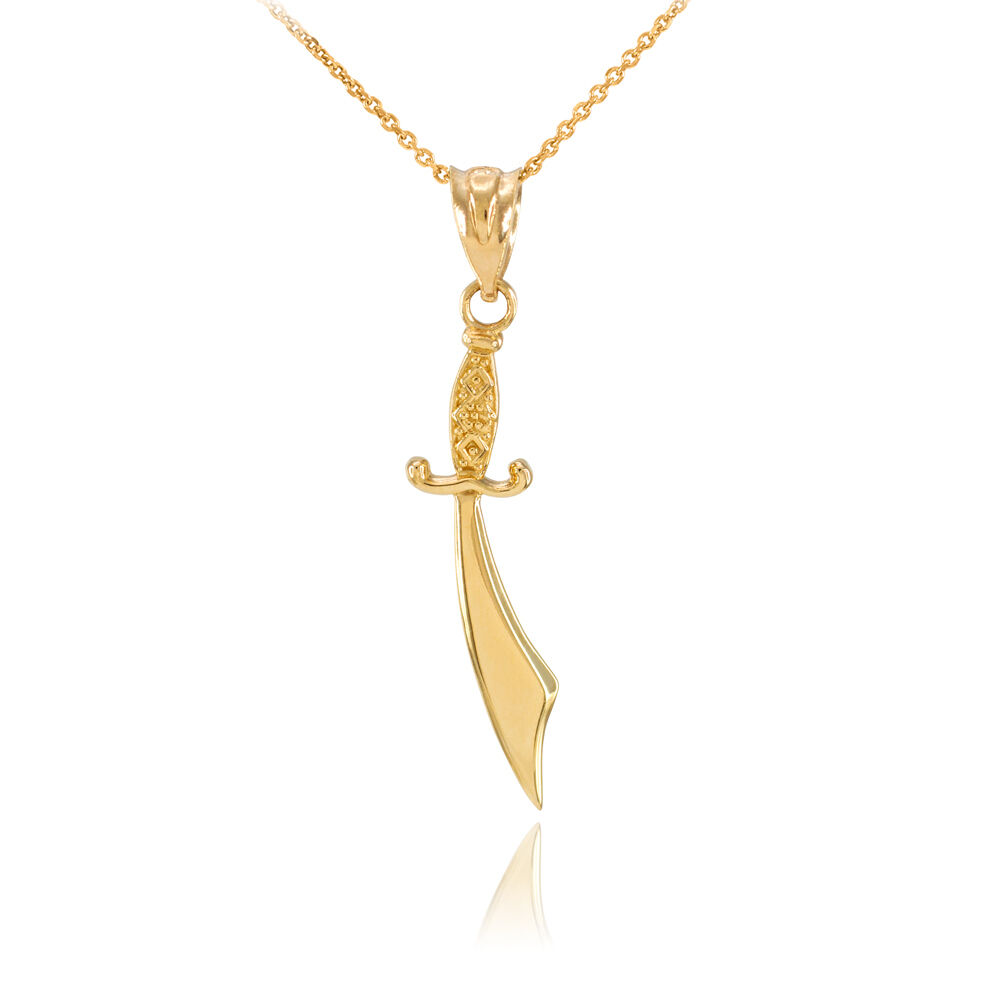 Polished 10k gold scimitar arabian sword necklace ebay for What is gold polished jewelry