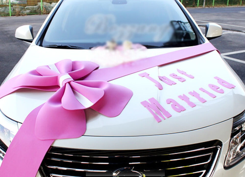 Wedding car decorations kit big ribbons pink bows letter for Automotive decoration