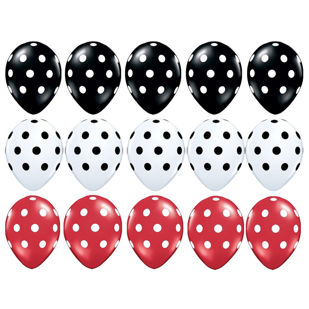 15pcs black red white polka dots mickey mouse balloons for Red and white polka dot decorations