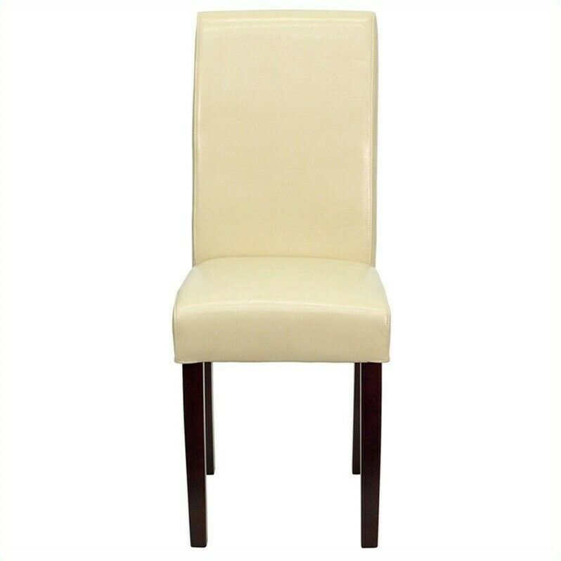 Flash furniture upholstered parsons dining chair chairs in for Leather parsons dining chair