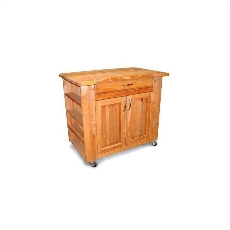 Catskill Craftsmen Deep Storage Medium Butcher Block Kitchen Cart Natural Finish eBay