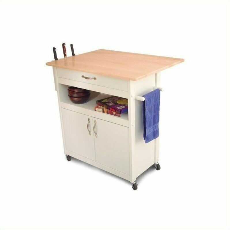 White Kitchen Microwave Cart