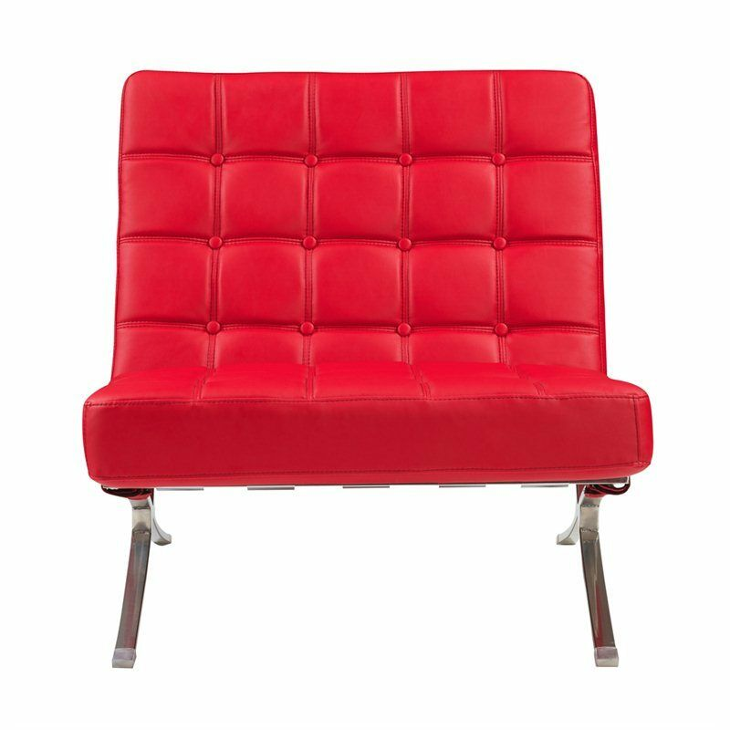 Small Red Leather Accent Chair: Global Furniture Natalie Leather Accent Chair Metal Chairs