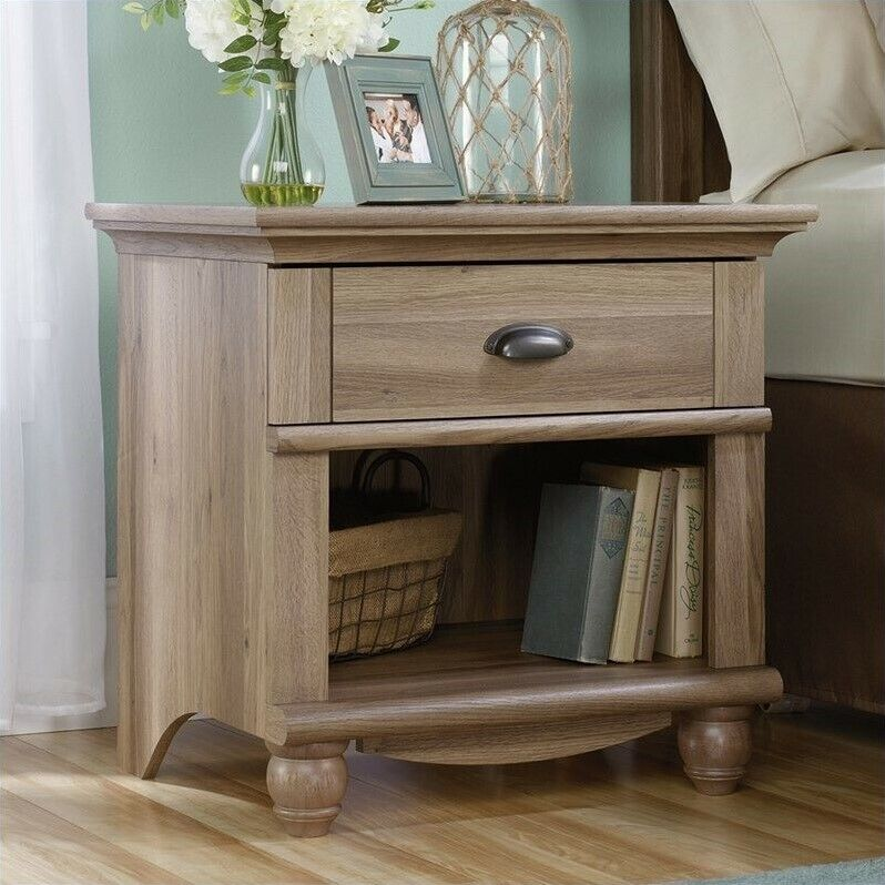 Sauder harbor view 1 drawer wood nightstand in salt oak for Furniture oak harbor