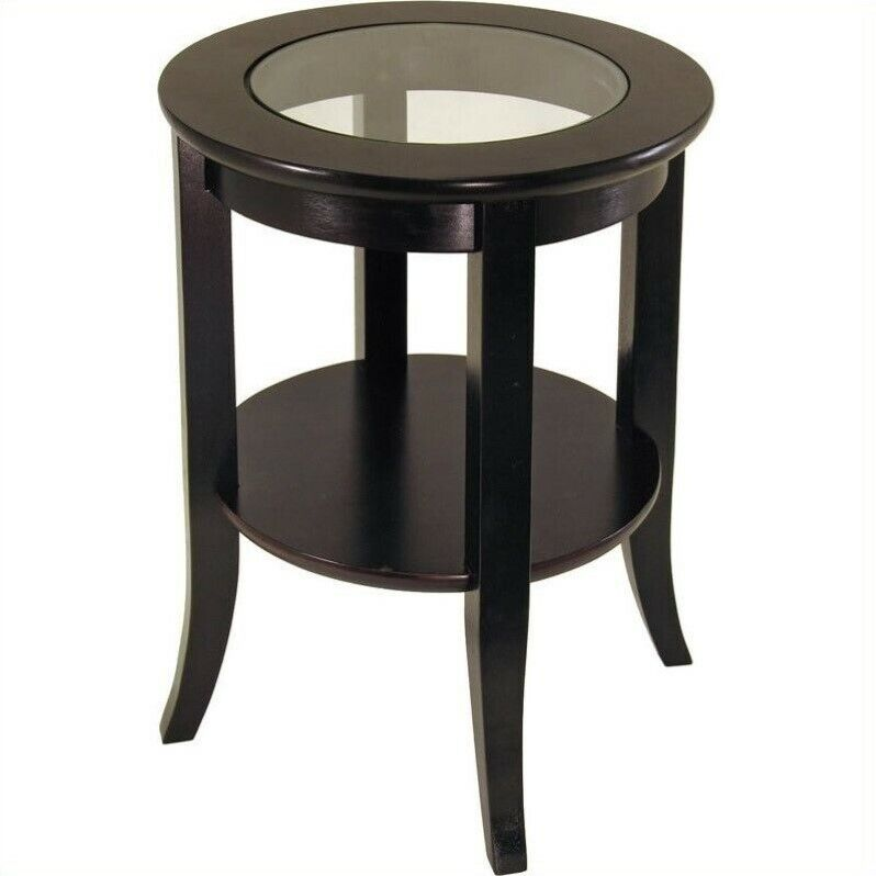 End Table Living Room Furniture Espresso Wood Dark Brown With Glass Top Wood Ebay