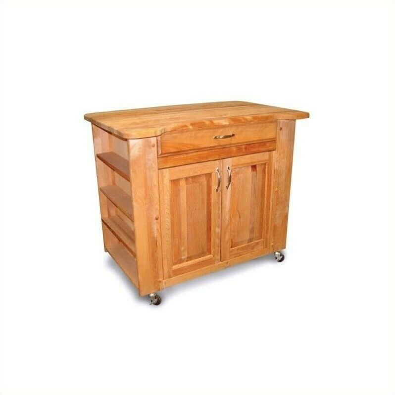 Catskill Deep Storage Large Butcher Block Kitchen Cart In Natural Ebay
