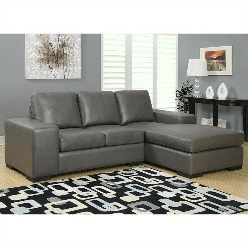 monarch leather sofa lounger in charcoal gray modern sectional ebay. Black Bedroom Furniture Sets. Home Design Ideas